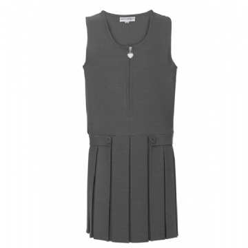Girls Two Button/Flap Pinafore in Grey